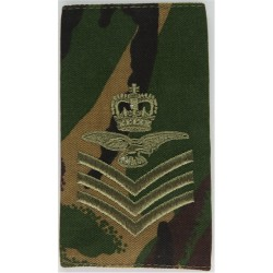 Flight Sergeant Aircrew Royal Air Force - Eagle FR Brown On DPM Camo with Queen Elizabeth's Crown. Embroidered Air Force Rank Ba