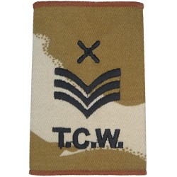 TCW Chief Technician Rank Slide Black On Desert Camo  Embroidered Air Force Rank Badge