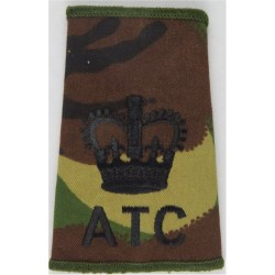 Air Training Corps Adult Warrant Officer Rank Slide Black On DPM Camo with Queen Elizabeth's Crown. Embroidered Air Force Rank B