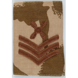 RAF Chief Technician (4-Blade Propeller / 3 Stripes) Desert Camo Slip-On  Embroidered Air Force Rank Badge