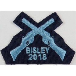 Crossed Rifles Over 'Bisley 2018' Sky Blue On Dk Blue  Embroidered Air Force Branch Badge