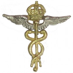 Royal Air Force Medical Branch - Mess Dress Collar Badge with King's Crown. Silver-plate and gilt Air Force Branch Badge