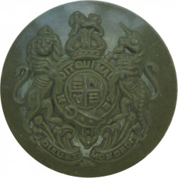 General Service - Royal Arms - WW2 Economy Issue 18.5mm - Green with King's Crown. Plastic Military uniform button