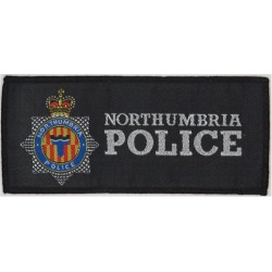 Northumbria Police Pullover Badge - 138mm X 60mm Rectangle White Dots with Queen Elizabeth's Crown. Woven UK Police or Prison in