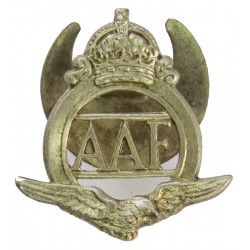 Auxiliary Air Force (not 'Royal' - Pre 16 Dec 1947) Serial Numbered with King's Crown. White Metal Lapel or sweet-heart badge