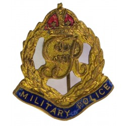 Military Police - GviR Brooch Fitting with King's Crown. Gilt and enamel Lapel or sweet-heart badge