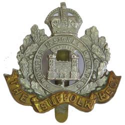 Suffolk Regiment (2 Towers) Regimental Castle with King's Crown. Bi-metallic Other Ranks' metal cap badge