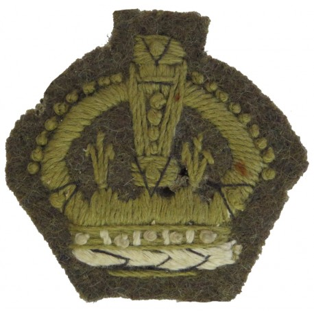 WO2 Rank Badge - Crown Only Khaki On Khaki with King's Crown. Embroidered Warrant Officer rank badge