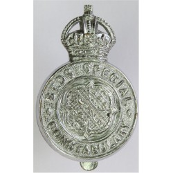 Bedfordshire Special Constabulary - Crest Centre Cap Badge - Pre-1952 with King's Crown. Chrome-plated Police or Prisons hat bad