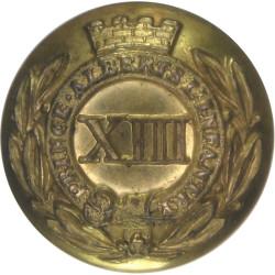 13th (1st Somersetshire) (Prince Albert's LI) - XIII 22.5mm - 1842-1855  Gilt Military uniform button