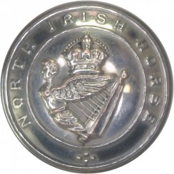 North Irish Horse 20mm with King's Crown. Silver-plated Military uniform button