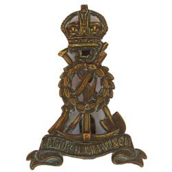 Pioneer Corps  with King's Crown. Bronze Officers' metal cap badge