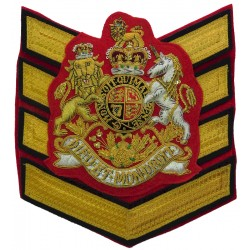 WO1 London Garrison Sergeant Major's Rank Badge Royal Arms On 4 Bars with Queen Elizabeth's Crown. Bullion wire-embroidered Warr