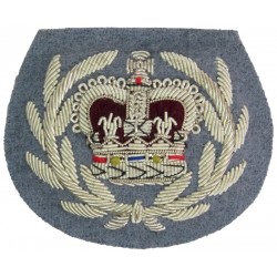 WO2 (QMSI) Rank Badge - No.1 Dress Size - SASC Silver On Sky Blue with Queen Elizabeth's Crown. Bullion wire-embroidered Warrant
