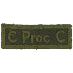 C Proc C (Canadian Provost Corps) Green On Olive  Embroidered Non-British Army shoulder title