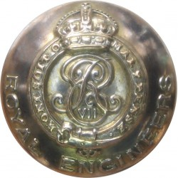 Royal Engineers - EviiR - Officers (Volunteer Type) 19.5mm - 1902-1908 with King's Crown. Silver-plated Military uniform button