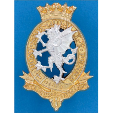 Royal Wessex Yeomanry New Badge  Silver-plate and gilt Officers' metal cap badge