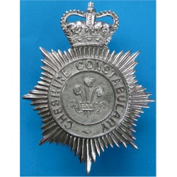 Cheshire Constabulary - PoW's Feathers Centre Helmet Star with Queen Elizabeth's Crown. Chrome-plated Police or Prisons hat badg