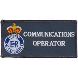 Gwent Constabulary Communications Officer Badge Rectangle + Crest with Queen Elizabeth's Crown. Embroidered UK Police or Prison