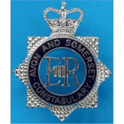 Avon & Somerset Constabulary - Senior Officers EiiR Centre with Queen Elizabeth's Crown. Chrome and enamelled Police or Prisons