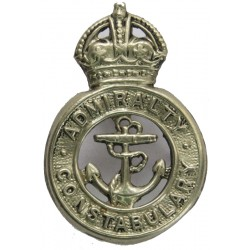 Admiralty Constabulary Collar Badge 1949-52 with King's Crown. White Metal UK Police or Prison insignia