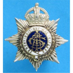 Army Service Corps Volunteers 1902-1908 with King's Crown. Silver-plated, gilt and enamel Officers' collar badge
