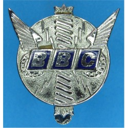 British Broadcasting Corporation Cap Badge BBC - 1963-1971  Chrome and enamelled