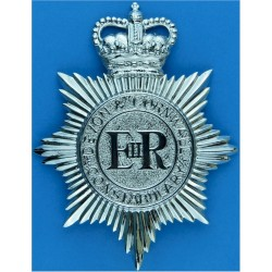 Essex Constabulary - Shield Centre Cap Badge - Pre-1952 King's Crown. Chrome-plated Police or Prisons hat badge