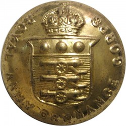 Royal Army Ordnance Corps (with Lettering) 25mm - 1919-1947 with King's Crown. Brass Military uniform button