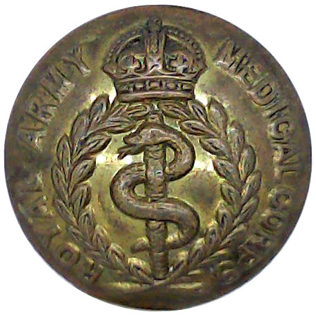 Royal Army Medical Corps 25.5mm - 1902-1952 with King's Crown. Brass Military uniform button