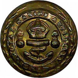 Royal Marine Artillery 17.5mm - 1902-1923 with King's Crown. Brass Military uniform button