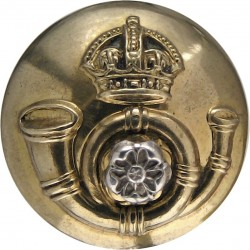 King's Own Yorkshire Light Infantry - Officers' 18.5mm Mounted Dome with King's Crown. Silver-plate and gilt Military uniform bu