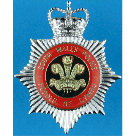 South Wales Police - Senior Officers Cap Badge - Red Ring with Queen Elizabeth's Crown. Chrome and enamelled Police or Prisons h
