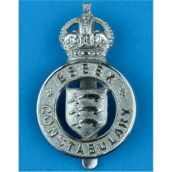 Essex Constabulary - Shield Centre Cap Badge - Pre-1952 with King's Crown. Chrome-plated Police or Prisons hat badge