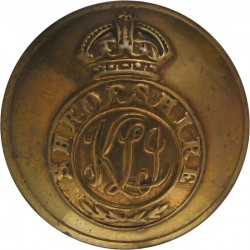 King's Shropshire Light Infantry - Rimmed 25.5mm - Pre-C.1946 with King's Crown. Brass Military uniform button