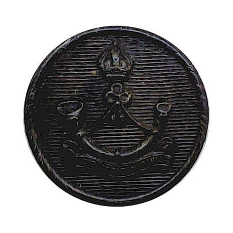 Royal Green Jackets 23.5mm - Black with Queen Elizabeth's Crown. Plastic Military uniform button