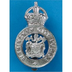 Birmingham City Police - Coat Of Arms Centre Cap Badge - Pre-1952 with King's Crown. Chrome-plated Police or Prisons hat badge