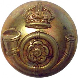King's Own Yorkshire Light Infantry 24.5mm with King's Crown. Brass Military uniform button