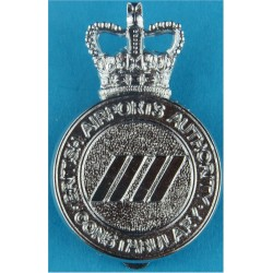 British Airports Authority Constabulary Cap Badge with Queen Elizabeth's Crown. Chrome-plated Police or Prisons hat badge