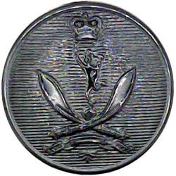 Queen's Gurkha Signals 19mm - Black with Queen Elizabeth's Crown. Plastic Military uniform button