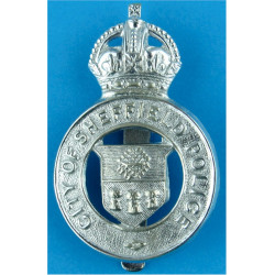 City Of Sheffield Police Cap Badge - Pre-1952 with King's Crown. Chrome-plated Police or Prisons hat badge
