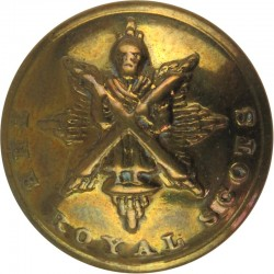 Scots Guards - Officers' Quality 25mm Mounted Dome with King's Crown. Brass Military uniform button