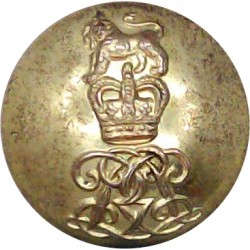 North Somerset Yeomanry - Officers 24mm with King's Crown. Silver-plated Military uniform button