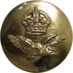 Royal Air Force 23mm with King's Crown. Brass Military uniform button