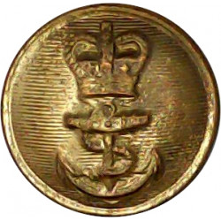 Royal Navy - Ratings (Plain Rim) 16.5mm - Post-1952 with Queen Elizabeth's Crown. Gilt Military uniform button