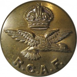 Royal Canadian Air Force - RCAF Letters - No Rim 23mm with King's Crown. Brass Military uniform button