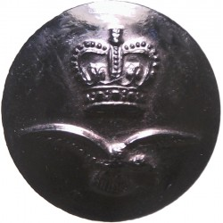Royal Air Force - Older Flat Pattern 17.5mm - Black with Queen Elizabeth's Crown. Plastic Military uniform button