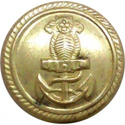 Indian Navy - Officers - Roped Rim 20mm - Post-1947  Gilt Military uniform button
