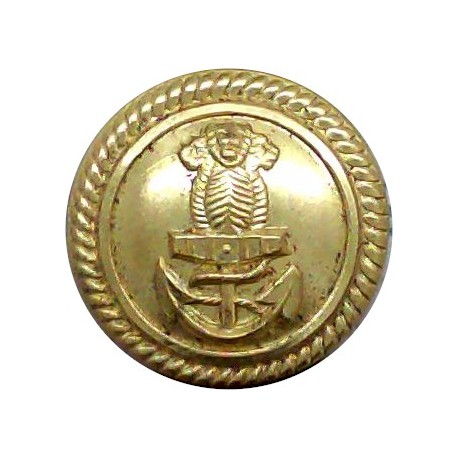 Indian Navy - Officers - Roped Rim 17mm - Post-1947  Gilt Military uniform button