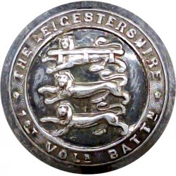 Leicestershire Regiment - 1st Volunteer Bn - No Rim 24.5mm - 3 Lions  Silver-plated Military uniform button